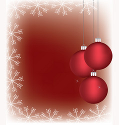 Christmass balls with a snowflake frame vector