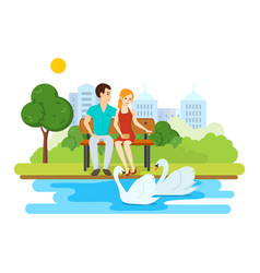 Couple relax on bench park near lake with swans vector