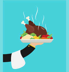 Flat with hot cooked chicken vector