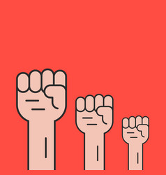 Hands up like revolution protest vector