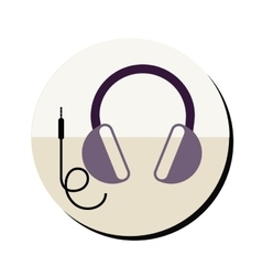 Headset stereo sound in round frame vector