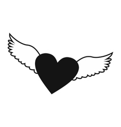 Heart with wings simple icon vector