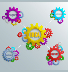 infographics with colorful gears on the grey backg vector image