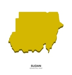 Isometric map of Sudan detailed vector image vector image