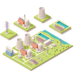 Isometric nuclear power facility vector