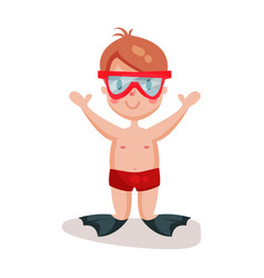 Little boy in diving mask and flippers kid ready vector