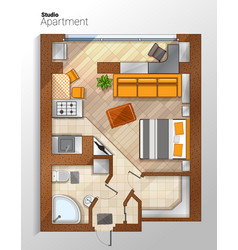 Modern studio apartment top view vector