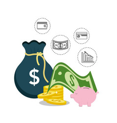money with bag wallet and statistic informations vector image
