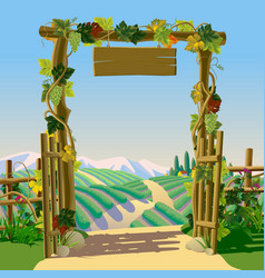Old wooden farm gate with signboard grapes and vector