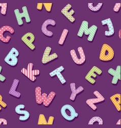 patchwork alphabet typography letters cute vintage vector image vector image
