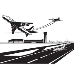 planes waiting for their turn to take off vector image vector image