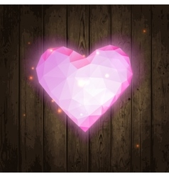 Polygonal pink heart on wooden texture vector image vector image