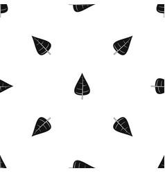 Poplar leaf pattern seamless black vector