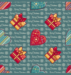 seamless pattern merry christmas toy vector image