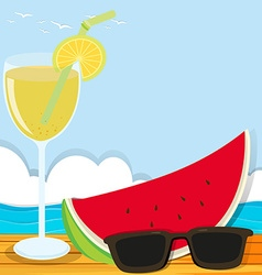 Summer theme with cocktail and watermelon vector image