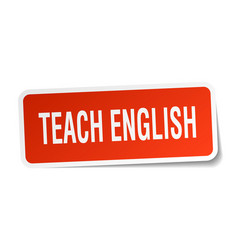 Teach english square sticker on white vector