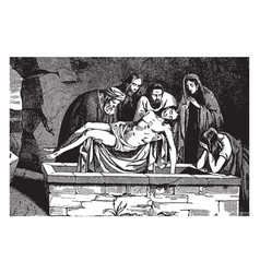 The body of jesus is placed in a tomb vintage vector