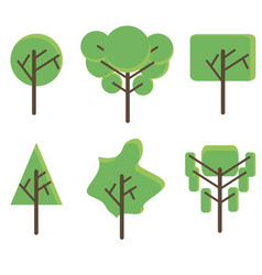 tree set flat icon green plant botany design eco vector image