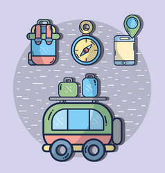 Van with backpack and compass with smartphone vector