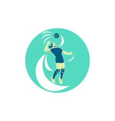 Volleyball player spiking high circle retro vector