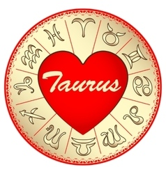 zodiac sign Taurus for lovers on Valentine vector image vector image