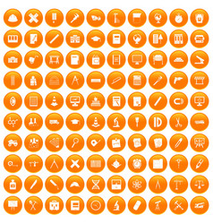 100 compass icons set orange vector