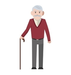 Caucasian senior man with cane icon vector