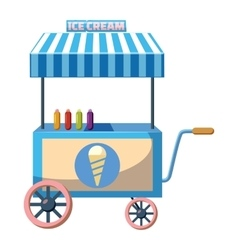 Cart with ice cream icon cartoon style vector