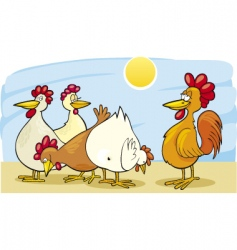 Cartoon rooster and hens vector
