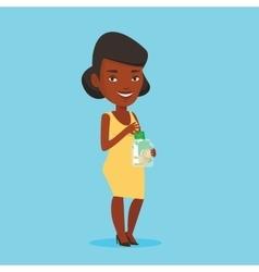 Business woman putting dollar money into money jar vector