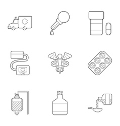 Treatment of patients icons set outline style vector