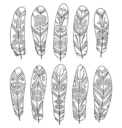 Ethnic feathers set isolated on white background vector