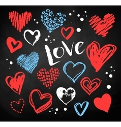 Collection of grunge Valentine hearts vector image