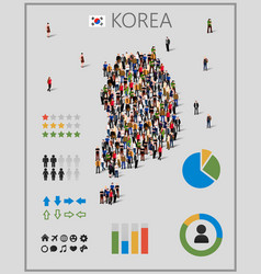 Large group of people in form of south korea map vector