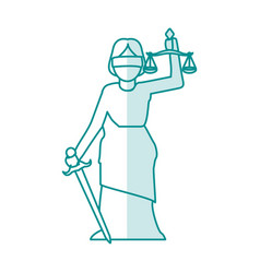 blue silhouette shading goddess of justice symbol vector image