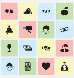 Set of 16 editable casino icons includes symbols vector