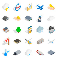 Airliner flight icons set isometric style vector