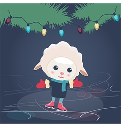 Cartoon sheep ice skating vector image