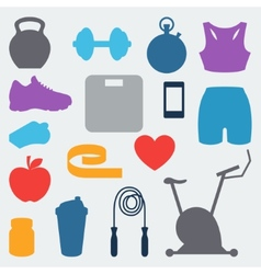 Sports and fitness icons set in flat style vector image