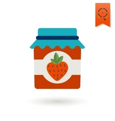 Jar of strawberry jam vector