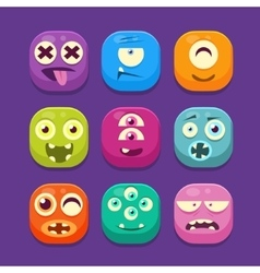 Cute monster web icons colourful vector