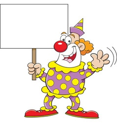 Cartoon clown holding a sign vector image