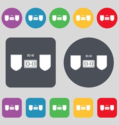Scoreboard icon sign a set of 12 colored buttons vector