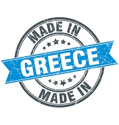 Made in greece blue round vintage stamp vector