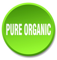 Pure organic green round flat isolated push button vector