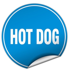 hot dog round blue sticker isolated on white vector image