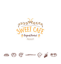badge for small businesses - sweet cafe the vector image vector image