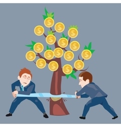 Businessmen sawing money tree vector image vector image