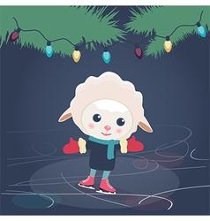 Cartoon sheep ice skating vector image