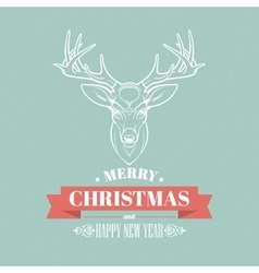 Christmas deer decoration design typographic vector